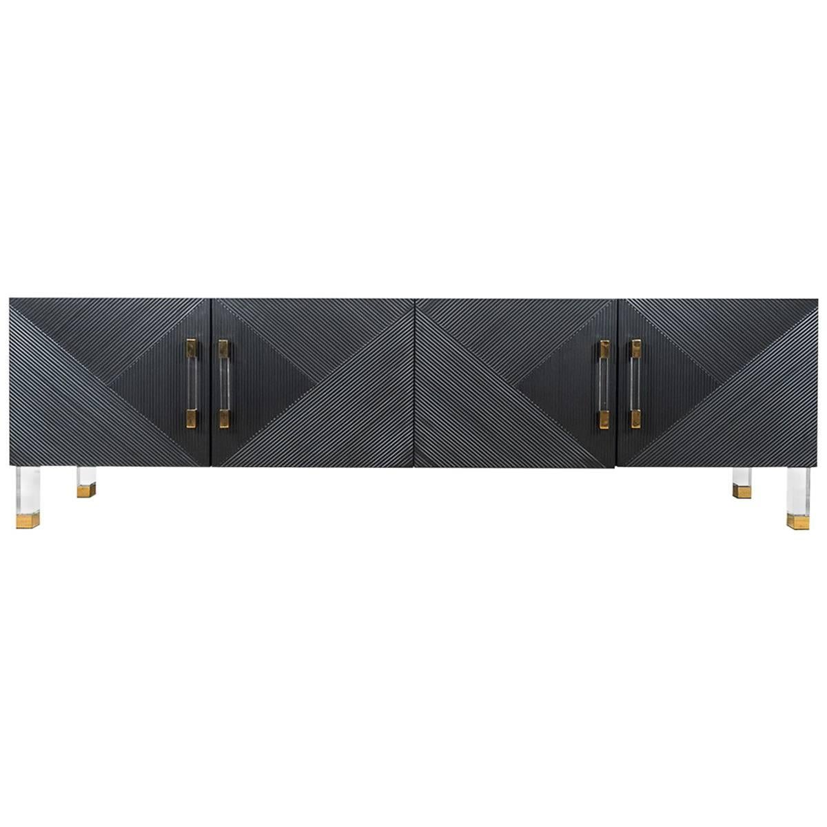 Mid-Century Style Textured Credenza with Lucite and Brass Hardware and Legs