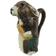 Majolica Rabbit with Carrot Pitcher Orchies, circa 1890