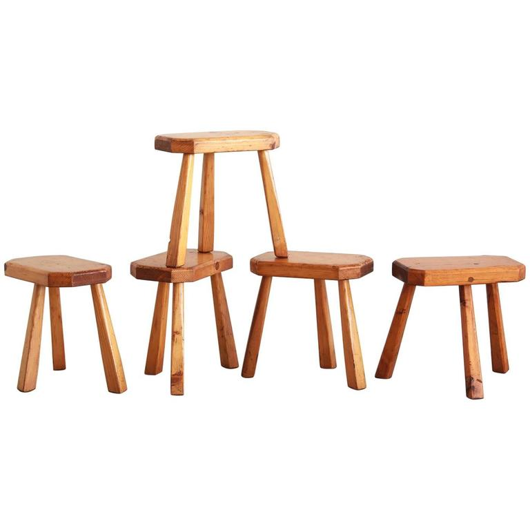 French Perriand Style Stools For Sale