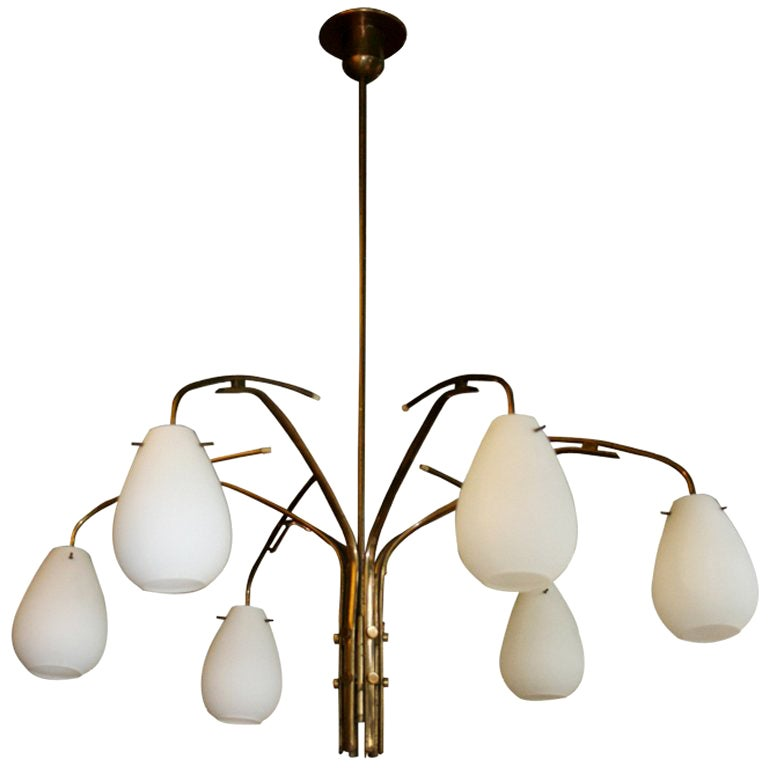 Italian 1960s Brass Chandelier with Original Satin Opal Glass Shades