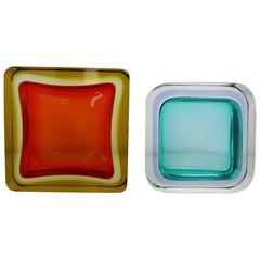 Pair of Italian Mid-Century Murano Sommerso Cased Glass Dishes
