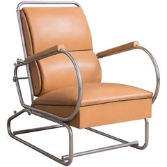 Adjustable Tubular Easy Chair in Original Leather + Wooden Armrests, circa 1930