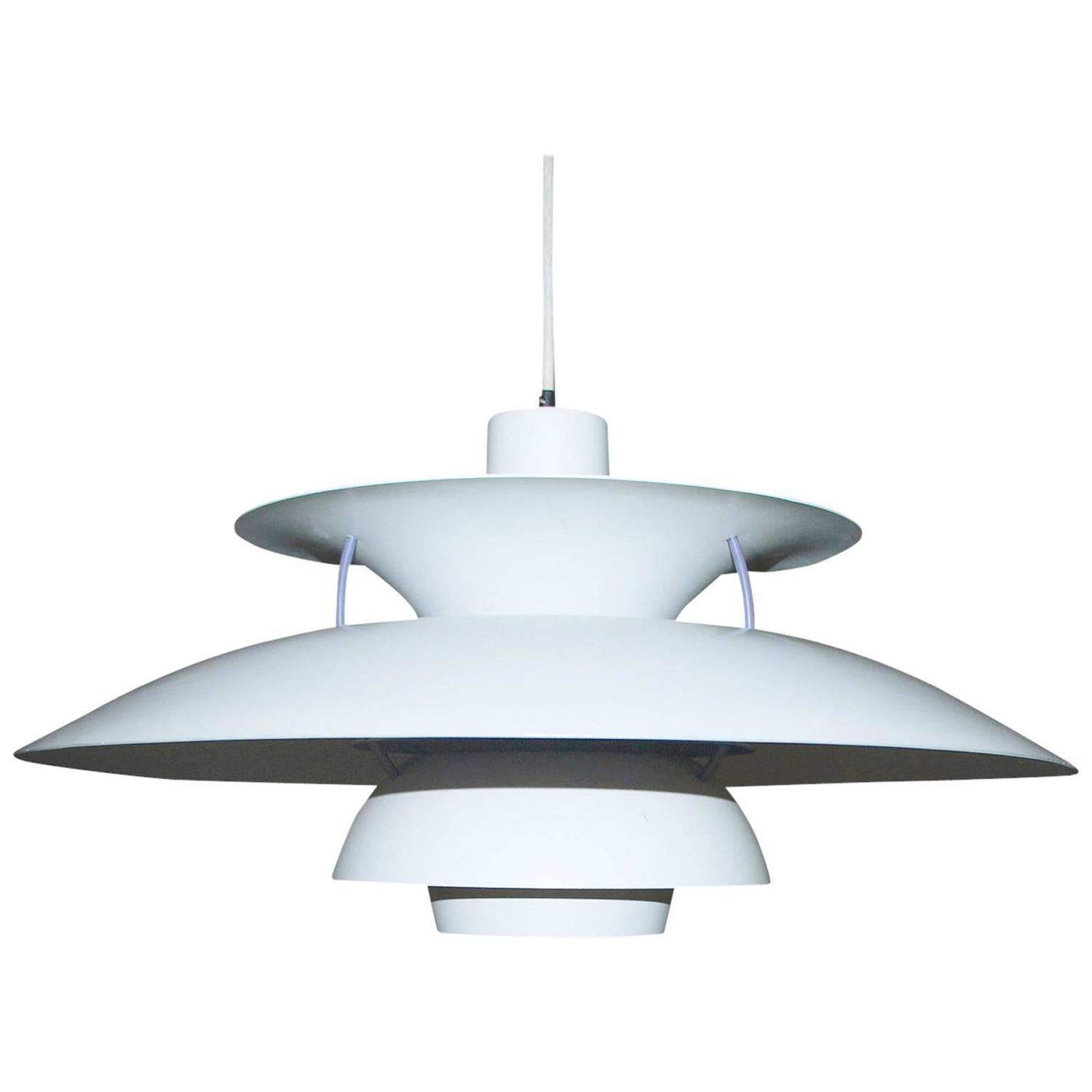 Poul Henningsen, 4/4 Rare Brass Pendant White Frosted Shades, Pat ...
