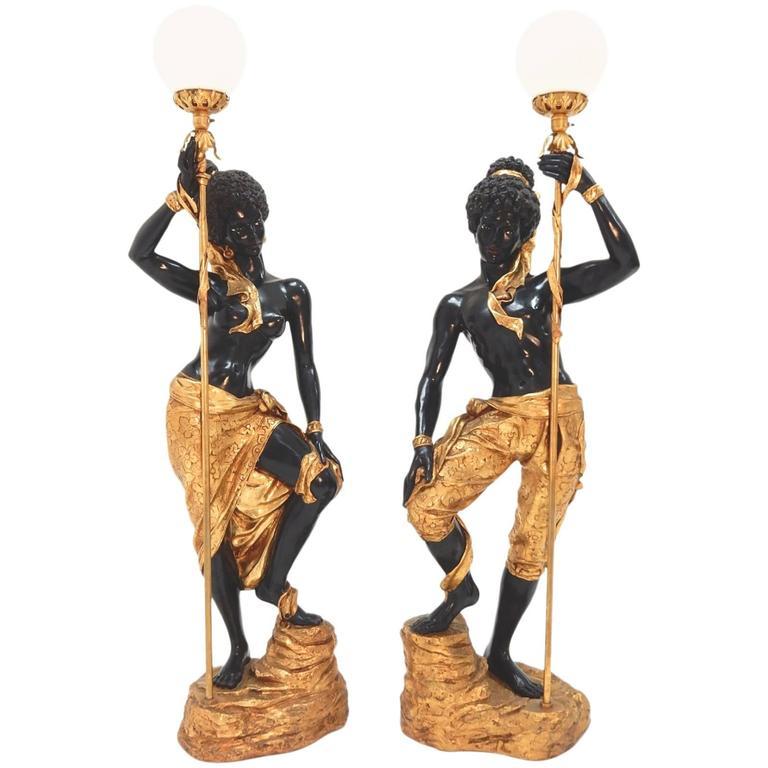 Tall Nubian Blackamoor Floor Lamps Italian, 1960s