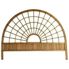 Vintage Rattan and Leather Queen Headboard