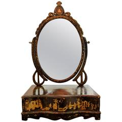 Serpentine-Front Chinese Gilt-Decorated Chinoiserie Dressing Table Mirror