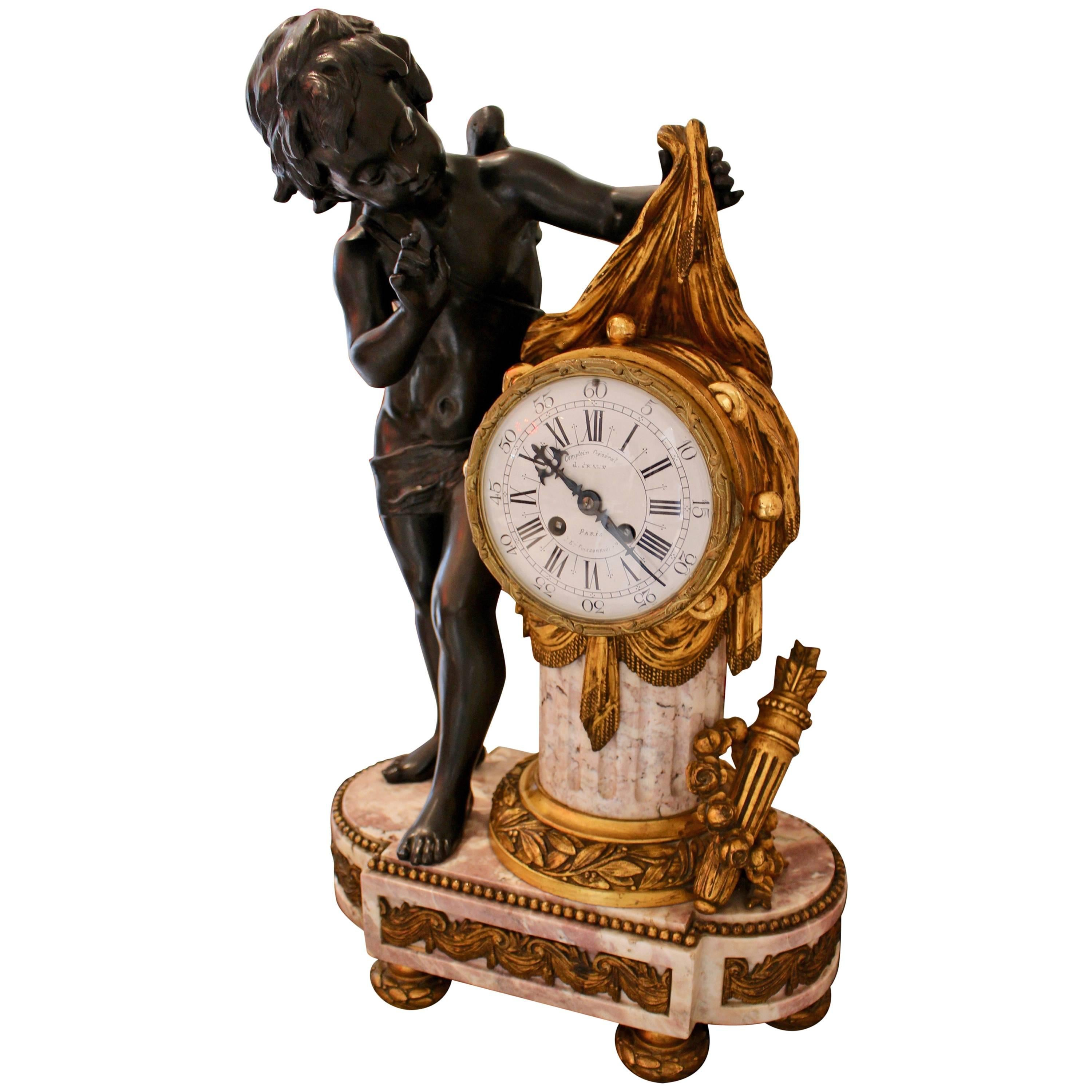 French Louis XVI Period Marble and Gilt-Bronze Mantle Clock with Playful Cupid