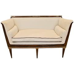 French Art Deco Rosewood and Ivory Inlaid Settee