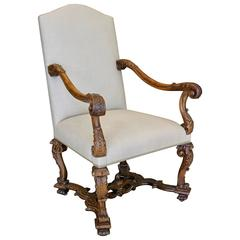 Baroque Style Mid 19th Century Carved Walnut Armchair with Scrolled Motifs