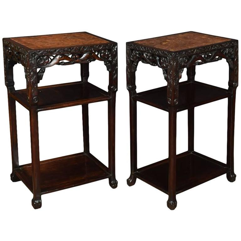 Pair of Chinese Rosewood and Marble Urn Stands