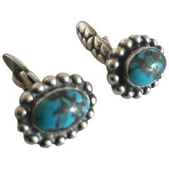Georg Jensen Silver Cuff Links with Turquoise Stones