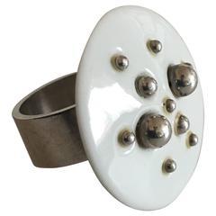 Anton Michelsen Sterling Silver Ring with Royal Copenhagen Porcelain Ornament
