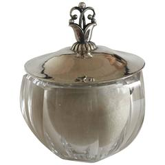 Georg Jensen Body Powder Puff #172 in Crystal Jar with Sterling Silver Lid #172