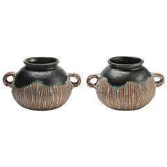 Rare Pair of Ceramic Vases by CAB for Primavera, circa 1930