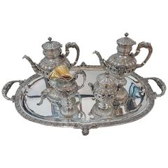 20th Century Italian Sterling Silver, Russian Style Teaset and Coffeest on Tray