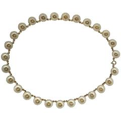 Anton Michelsen Daisy Necklace in Gilded Sterling Silver and White Enamel