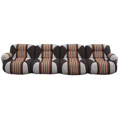 Italian Modular Sofa Design 1960s Geometric Wool
