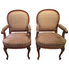Pair of Stylishly Upholstered Carved Walnut French Armchairs