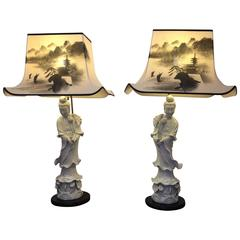 Pair of Magnificent Kwan Yin Figural Blanc De Chine Lamps