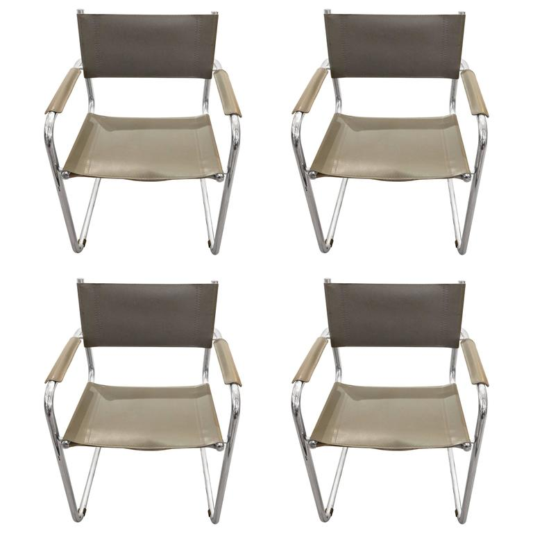 Set of Four Mid-Century Modern Grey Leather and Chrome Dining Armchairs