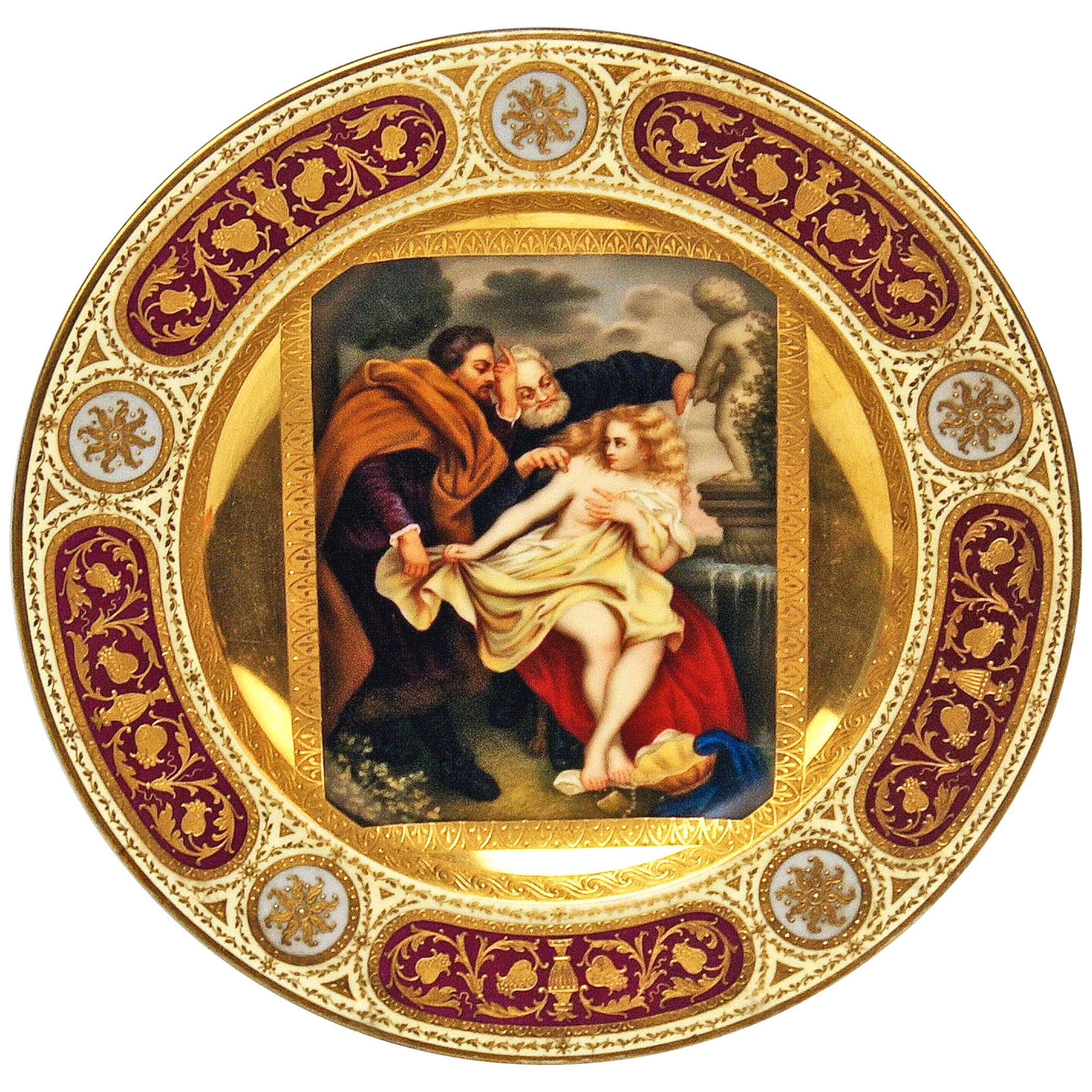Plate Imperial Viennese Porcelain Painting Susanna and the Elders, 1813