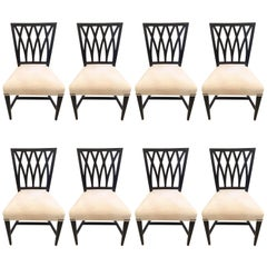 Classic Set of Eight Ebonized Regency Style Mahogany Dining Chairs