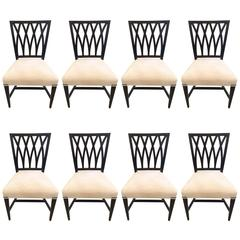 Classic Set of Eight Ebonized Walnut Criss Cross Style Dining Chairs