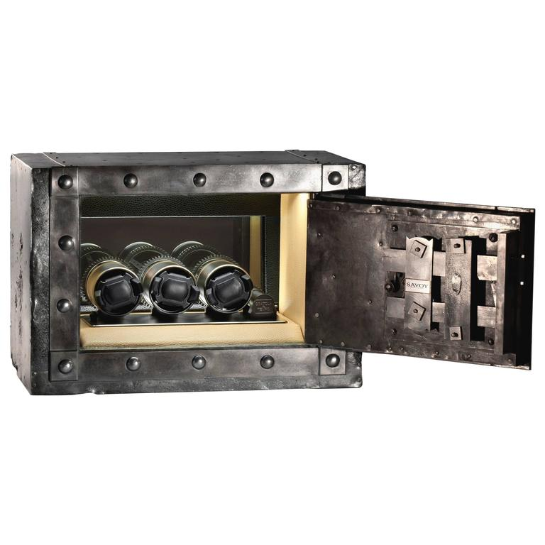 19th Century Wrought Iron Italian Antique Safe Strongbox with Three Watch-Winder For Sale