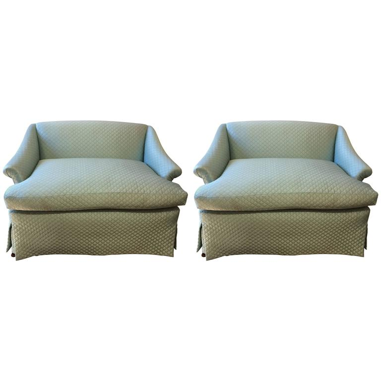 Movie Star Glam Pair of Tiffany Blue Silk Quilted Antique Loveseats Settees
