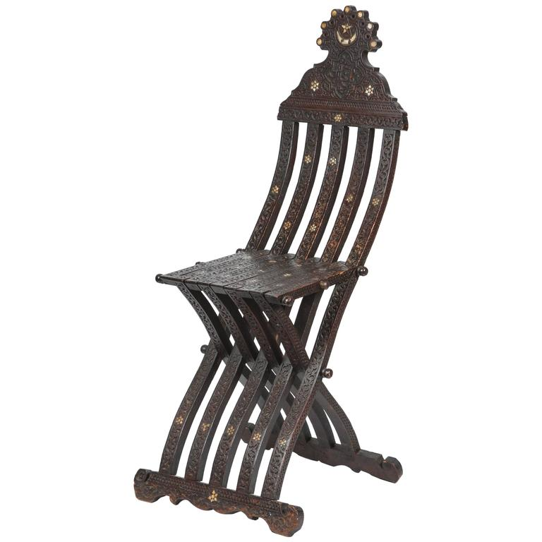 19th Century Syrian Wood Inlaid Folding Chair