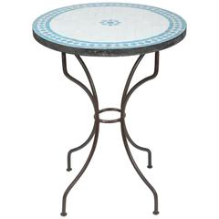 Moroccan Mosaic Turquoise Blue Tile Bistro Table Iron Base