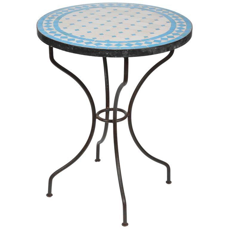 Moroccan Mosaic Blue Tile Bistro Table On Iron Base For