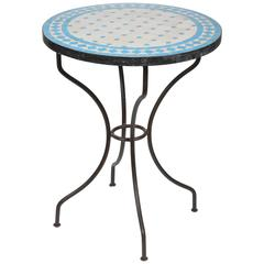 Moroccan Mosaic Blue Tile Bistro Table on Iron Base