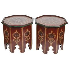 Moroccan Side Tables with Moorish Designs, Pair