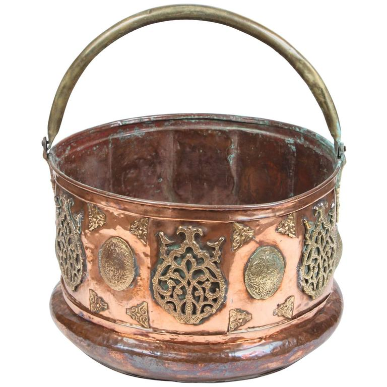 Large Moroccan Moorish Copper and Brass Planter