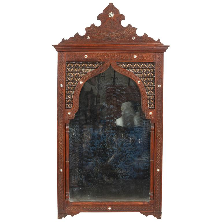 Large Arched Syrian Mirror Inlaid with Mother-of-Pearl