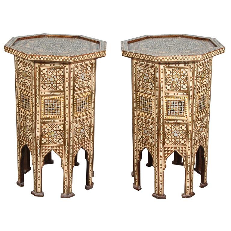 Syrian Large Pair of Octagonal Pedestal Tables