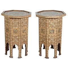 Syrian Large Pair of Octagonal Pedestal Moorish Tables