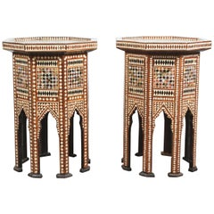 Syrian Moorish Octagonal Tables Inlay with Mother-of-Pearl