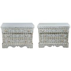 Pair of Syrian White Mother of Pearl Inlay Wedding Dressers