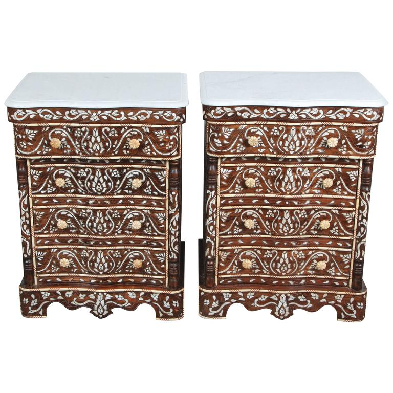 Pair Of Syrian Mother Pearl Inlay Nightstands For