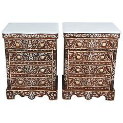 Pair of Syrian Mother-of-pearl Inlay Nightstands
