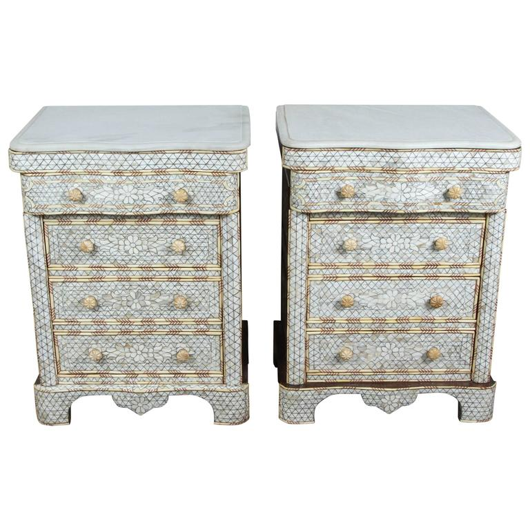 Pair of Mother-of-Pearl Inlay Syrian Nightstands