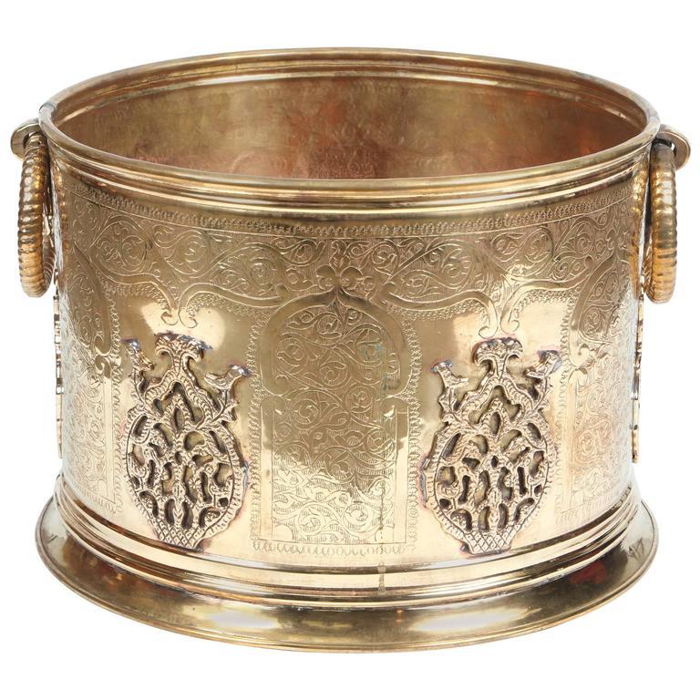 Large Moroccan Moorish Polished Brass Planter
