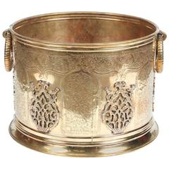 Large Moroccan Moorish Polished Brass Planter