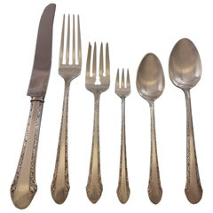 Chased Romantique by Alvin Sterling Silver Flatware Set Service 51 Pieces Dinner