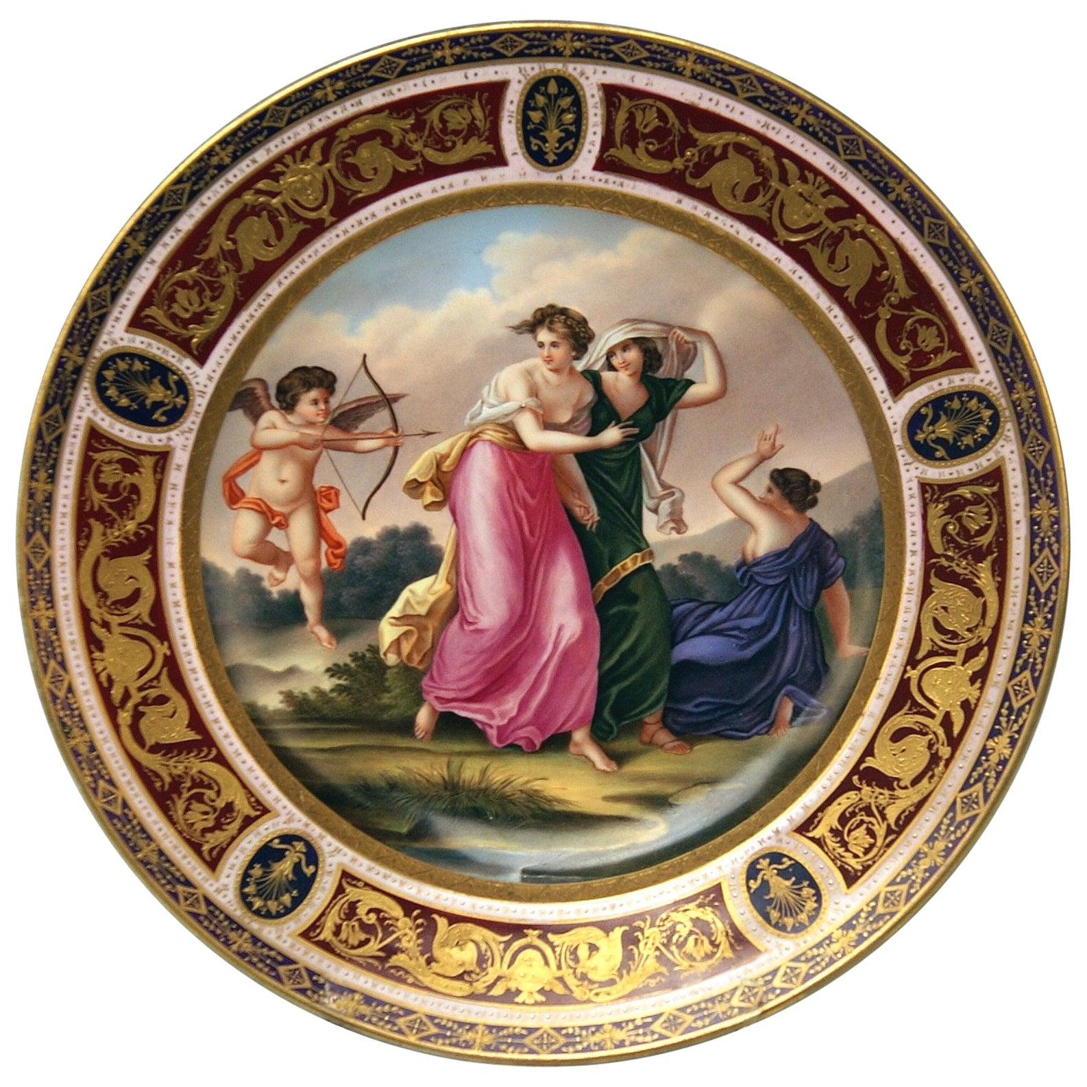 Plate Imperial Viennese Porcelain 1802 Amor Cherub Nymphs Angelika Kauffmann
