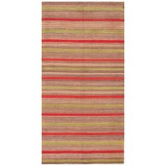 Vintage Turkish Kilim Carpet with Light Green and Red Stripes