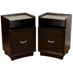 Pair of Lacquered Berkey and Gay Nightstands with Silver Leafed Glass and Pulls