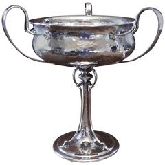 Arts and Crafts Centrepiece Bowl, Beaten Silver by James Dixon & Sons
